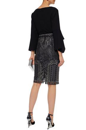 MARCHESA NOTTE Embellished tulle pencil skirt