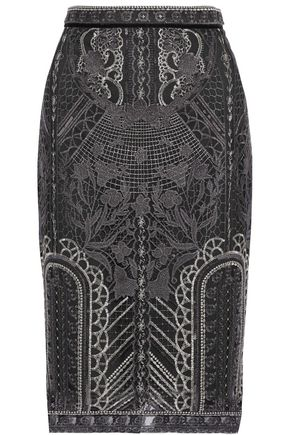 MARCHESA NOTTE Embellished tulle pencil skirt