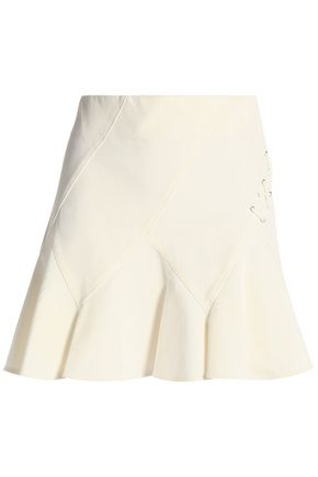 DEREK LAM 10 CROSBY Lace-up fluted stretch-cotton mini skirt