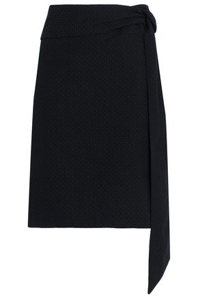 CHALAYAN Belted cotton-jacquard skirt
