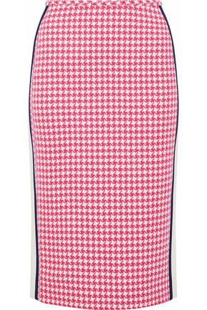 PRADA Striped crepe-trimmed houndstooth wool skirt
