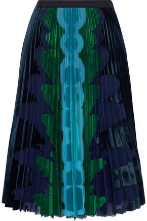 MARY KATRANTZOU Suzette velvet-paneled pleated tulle midi skirt