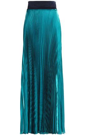 GALVAN  London Pleated satin maxi skirt
