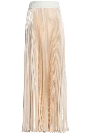 GALVAN  London Pleated satin maxi skirt