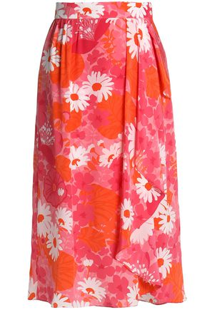 MICHAEL KORS COLLECTION Draped floral-print silk-chiffon wrap skirt