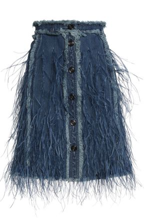 MICHAEL KORS COLLECTION Feather-embellished denim skirt