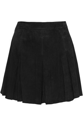 ALICE+OLIVIA Lee pleated suede mini skirt