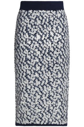 MICHAEL KORS COLLECTION Floral-appliquéd jacquard-knit pencil skirt