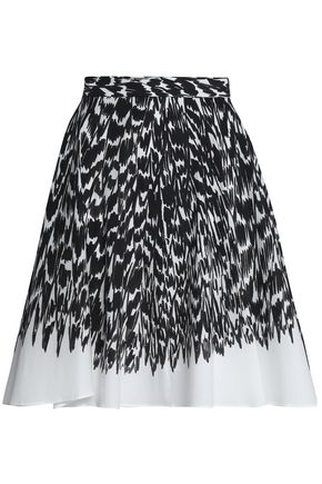 MILLY Circle printed cotton-blend poplin skirt