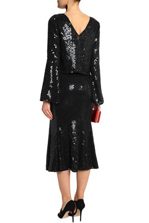 RACHEL GILBERT Fluted sequined gauze midi skirt