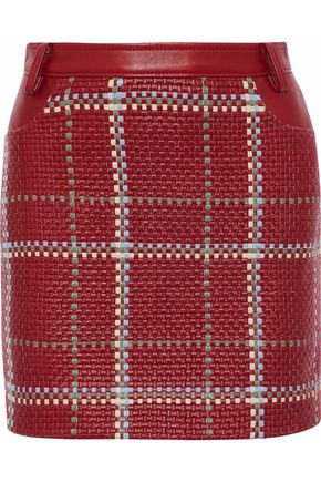 MAGDA BUTRYM Newcastle woven and smooth leather mini skirt