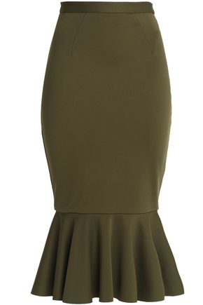 RACHEL GILBERT Fluted stretch-knit midi skirt