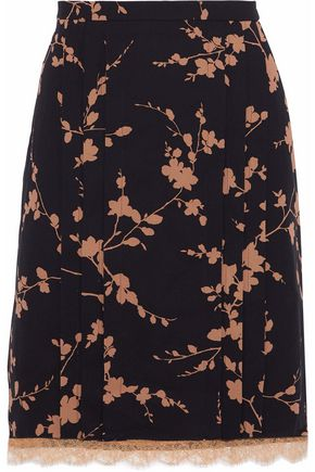 MICHAEL KORS COLLECTION Layered floral-print silk and corded lace skirt