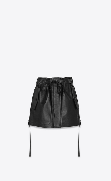 SAINT LAURENT Short Skirts Woman Laced mini skirt in vintage black lambskin a_V4