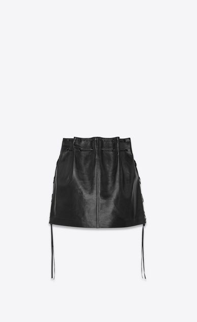 SAINT LAURENT Short Skirts Woman Laced mini skirt in vintage black lambskin b_V4