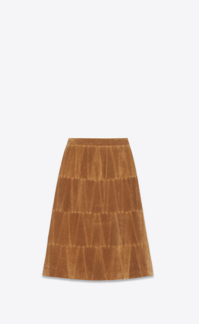 SAINT LAURENT Long Skirts Woman Patchwork skirt in sand suede b_V4