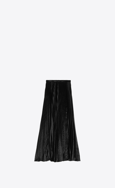 SAINT LAURENT Long Skirts Woman Pleated skirt in black velvet a_V4