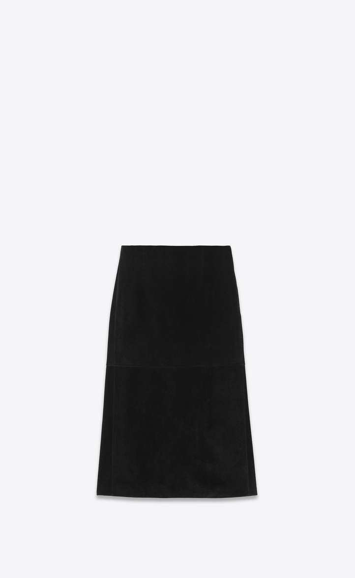 Jupe longue en croute de cuir noir