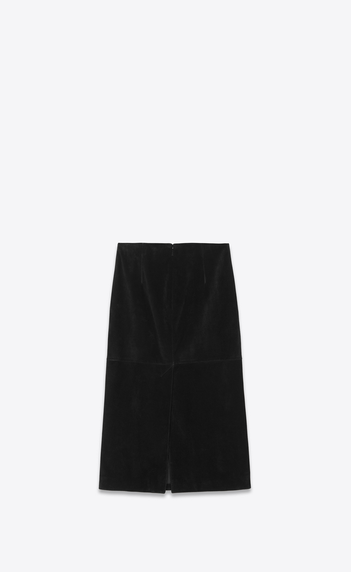 7954f3302e Saint Laurent Suede Midi Skirt In Black | ModeSens