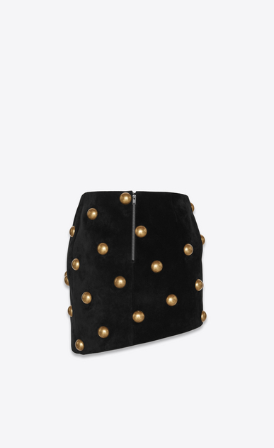 SAINT LAURENT Short Skirts Woman Studded mini skirt in black suede b_V4