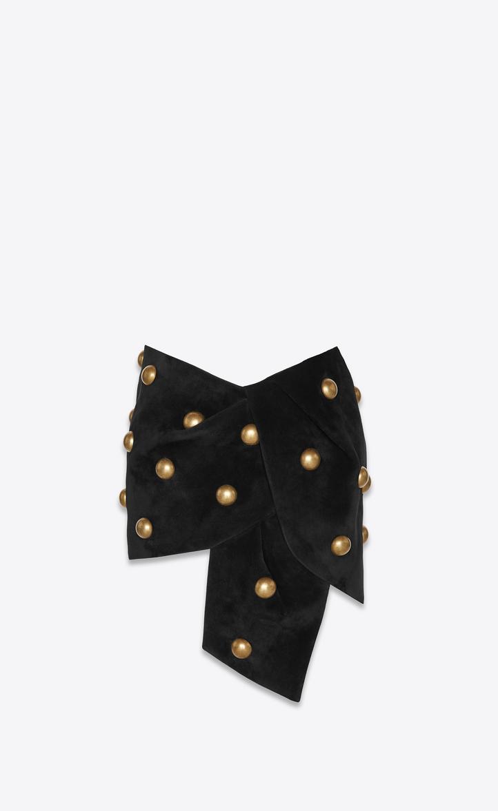 Mini jupe cloutée en suède noir