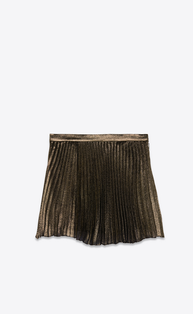 SAINT LAURENT Short Skirts Woman Pleated mini skirt in black and gold silk a_V4