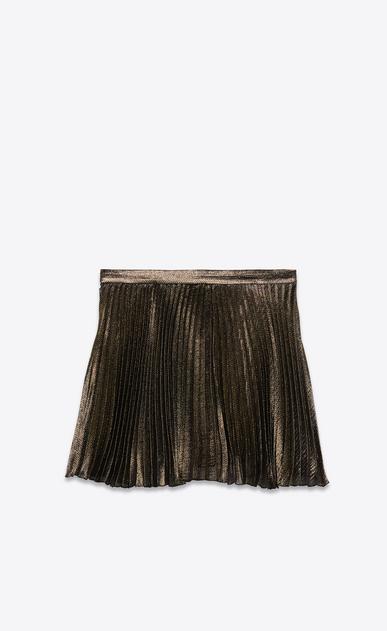 SAINT LAURENT Short Skirts Woman Pleated mini skirt in black and gold silk b_V4