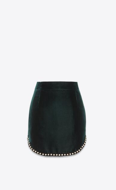 SAINT LAURENT Short Skirts Woman Skirt with studs in emerald green velvet a_V4
