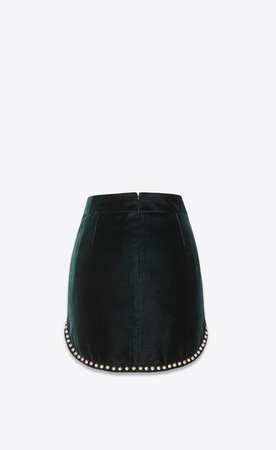 SAINT LAURENT Short Skirts Woman Skirt with studs in emerald green velvet b_V4