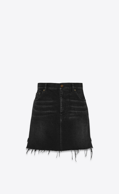 SAINT LAURENT Short Skirts Woman Skirt in faded black denim a_V4