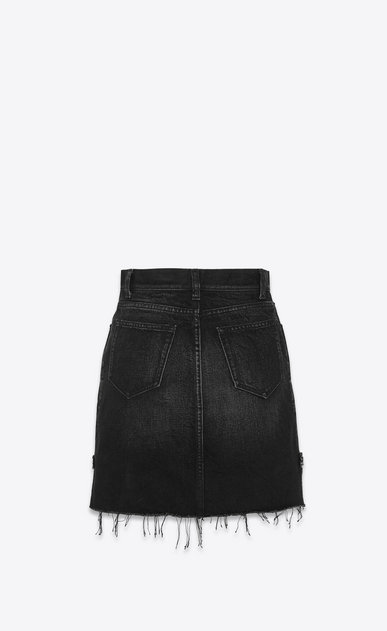 SAINT LAURENT Short Skirts Woman Skirt in faded black denim b_V4