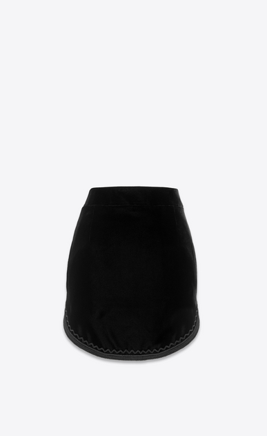 SAINT LAURENT Short Skirts Woman Skirt in black velvet a_V4