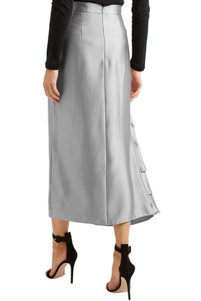 ROKSANDA Ruffled hammered silk-satin midi skirt