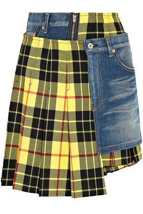 JUNYA WATANABE Denim-paneled pleated checked wool skirt