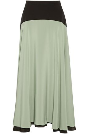 CHRISTOPHER KANE Two-tone silk crepe de chine midi skirt