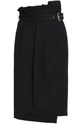 LANVIN Belted wool-twill wrap skirt