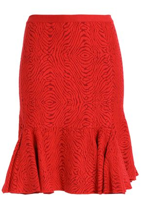 LANVIN Ruffled jacquard-knit skirt