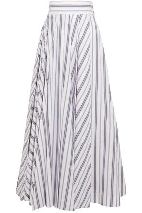 A.W.A.K.E. Pleated striped cotton-poplin maxi skirt