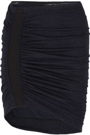 ATLEIN Ruched wool and cotton-blend tweed mini skirt