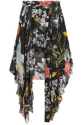 PREEN by THORNTON BREGAZZI Alanis asymmetric floral-print devoré silk-blend chiffon skirt