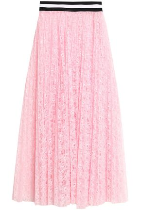 MSGM Pleated neon corded lace midi skirt