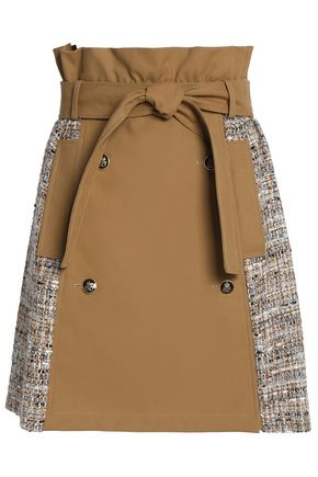 MSGM Paneled cotton-gabardine and tweed mini skirt