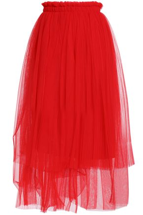 MSGM Asymmetric gathered tulle midi skirt