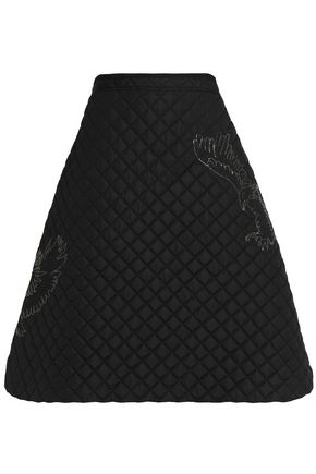MSGM Crystal-embellished quilted shell skirt