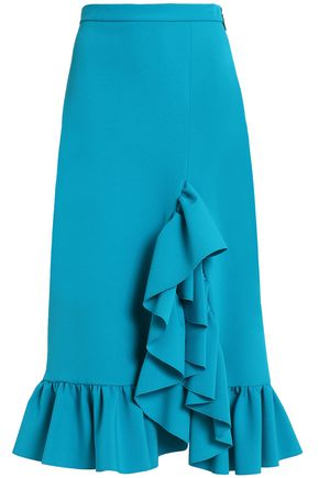 MSGM Ruffled crepe midi skirt
