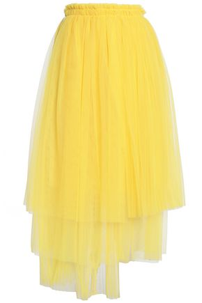 MSGM Asymmetric gathered tulle midi skirt