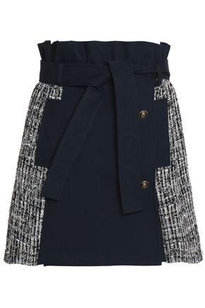 MSGM Paneled cotton-gabardine and tweed mini skirt