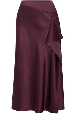 CUSHNIE ET OCHS Draped silk-charmeuse midi skirt