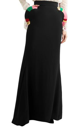 RONALD VAN DER KEMP Leather-trimmed crepe maxi skirt