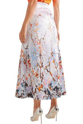 MERCHANT ARCHIVE Printed duchesse satin midi skirt